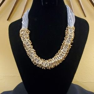 Ann Taylor Silver Gold Statement Necklace #574